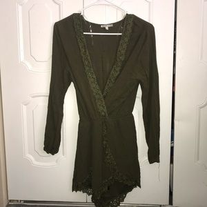 Army Green Lace Romper